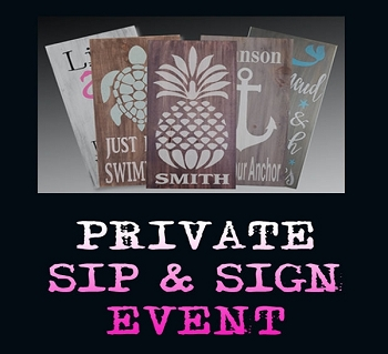 NOVEMBER 10TH SATURDAY 2:00 - PRIVATE PARTY - SIP & SIGN - OVER 100 DESIGNS