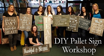 MARCH 25TH SUNDAY 3 PM - BYOB BRICK TOWNSHIP STUDIO - CHOOSE **ANY SIGN** IN OUR DIY PALLET SIGN GALLERY