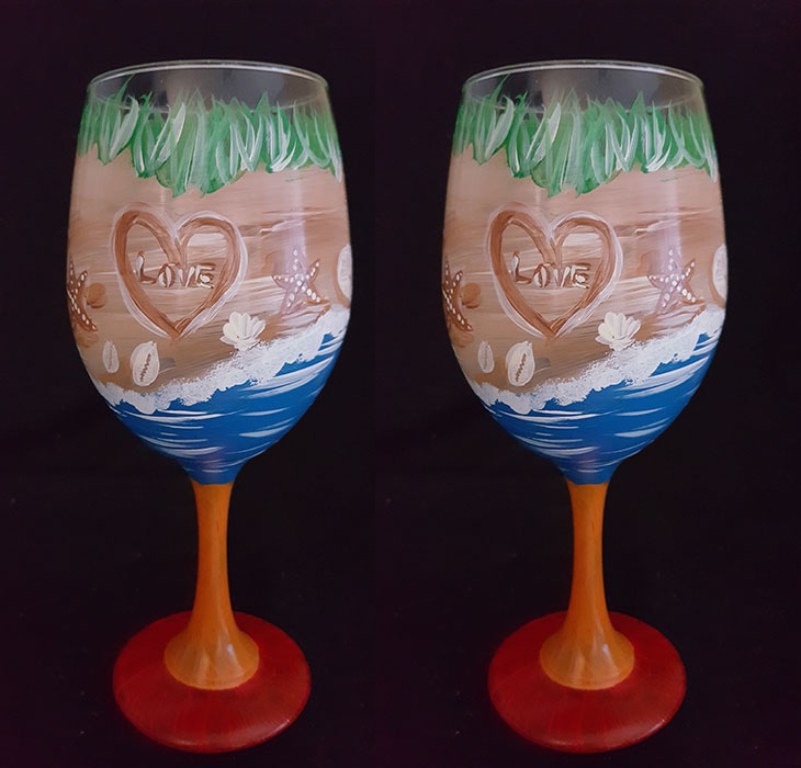 Beach Heart Themed Wine Glasses