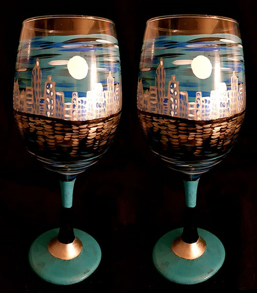 City at night Painted on Wine Glasses