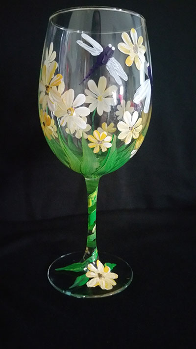 Dragons & Daisies Wine Glasses