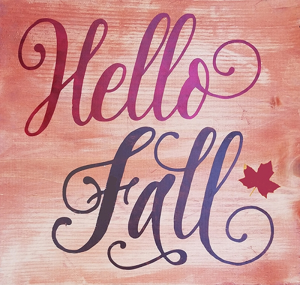Hello Fall painted wood sign