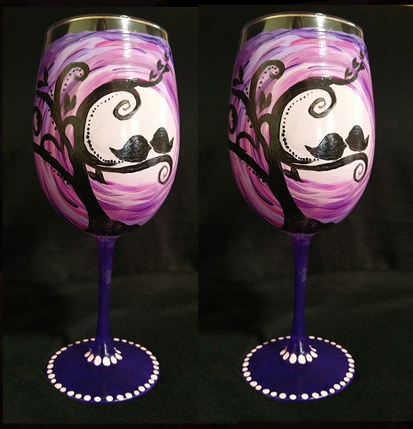 Purple Love Birds Wine Glasses