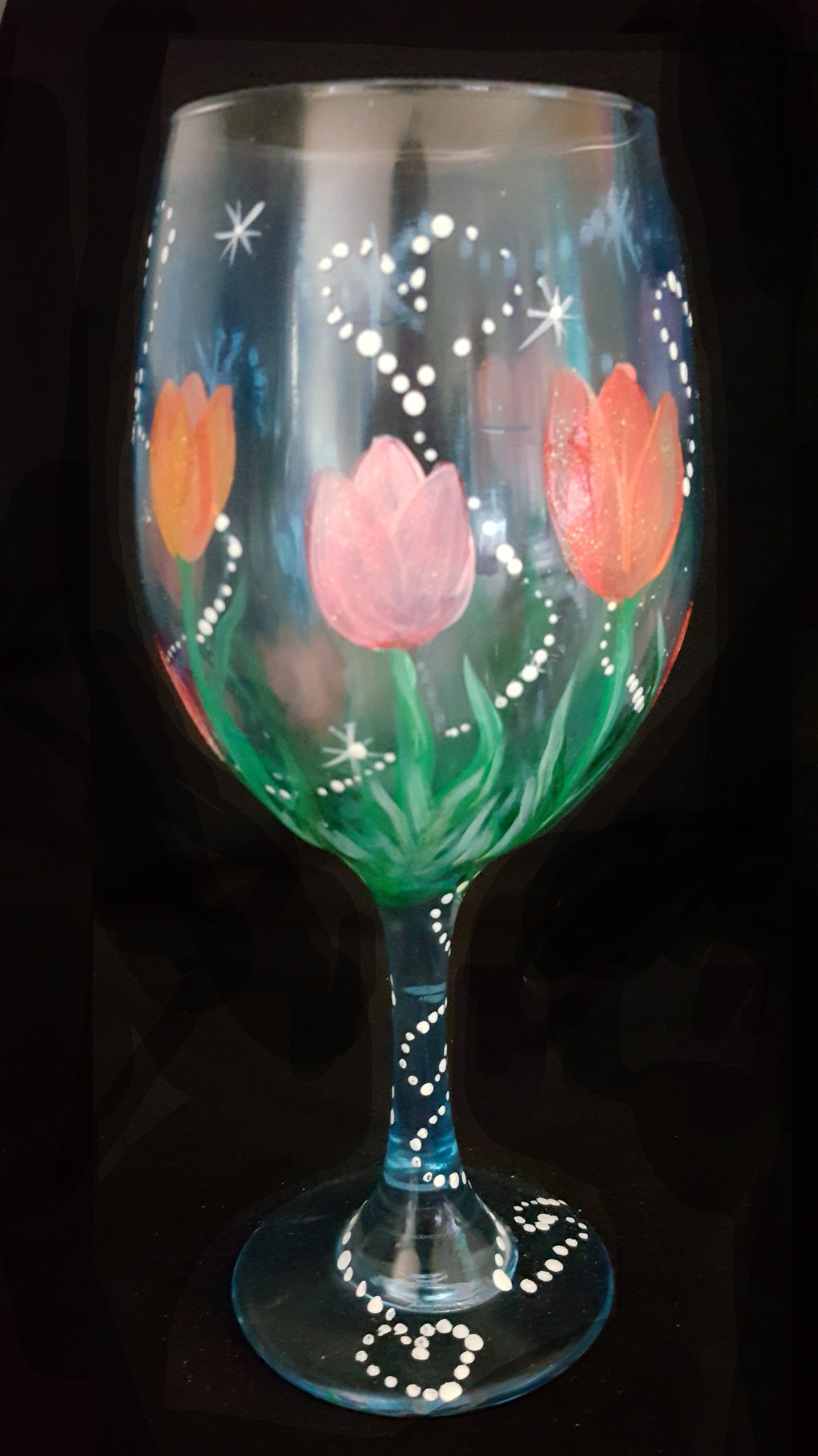 Sparkling Tulips on Wine Glasses