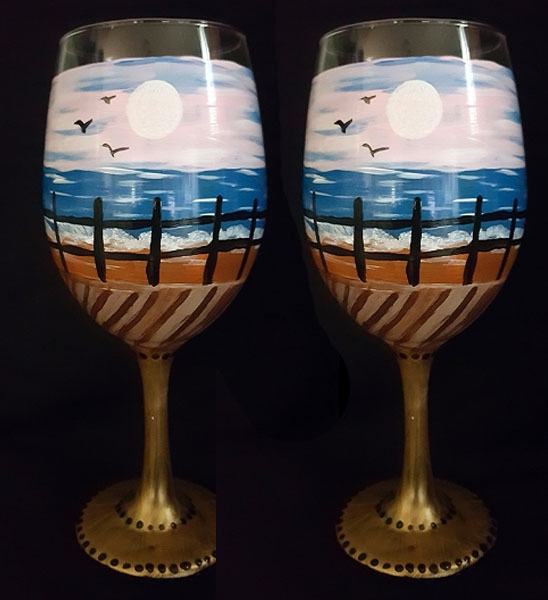 Boardwalk painted on Wine Glasses