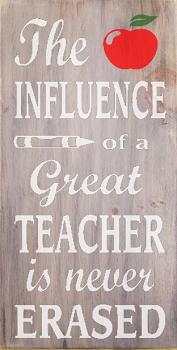 The influence of a Great Teacher is never Erased 18 x 10