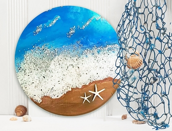 SATURDAY FEBRUARY 8th 6:30 PM - EPOXY ART WORKSHOP - SWIRLING OCEAN WALL ART WITH 2 STEP RESIN