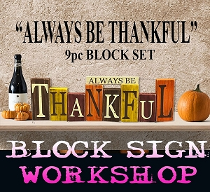 SEPTEMBER 30TH SUNDAY 1:00PM - BYOB BRICK TOWNSHIP STUDIO - DIY BLOCK SIGN SET