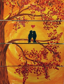 Fall in Love - Hanging Wood Panel