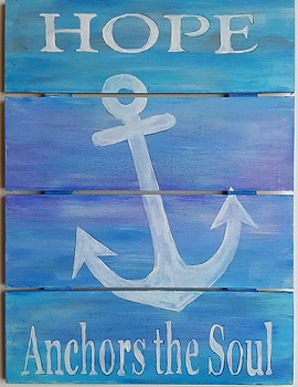 Hope Anchors the Soul - Blue & Purple Stained