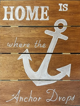 Home is where the Anchor Drops - Hanging Wood Pallet