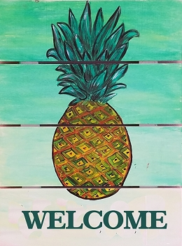 Welcome Pineapple on Wood