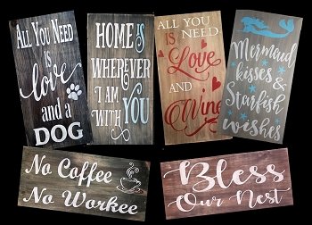 JANUARY 17TH WEDNESDAY 7:00 PM - BRICK TOWNSHIP STUDIO BYOB - SIP N SIGN PARTY - CHOOSE YOUR FAVORITE  - 18 X 10 SOLID WOOD HANGING RUSTIC SIGN