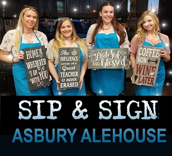 JULY 30TH MONDAY 7:00 - ALE HOUSE  - ASBURY PARK  - SIP & SIGN