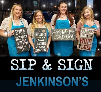 JULY 24TH TUESDAY 7:30PM - JENKINSON'S PAVILION PT PLEASANT BEACH - SIP & SIGN