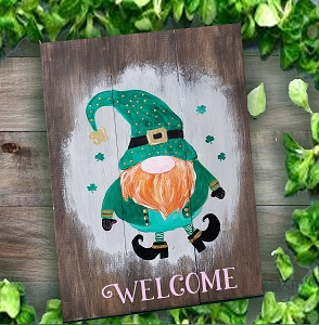 FEBRUARY 6TH THURSDAY 7:00 PM - LEPRECHAUN GNOME PAINTING ON AN 12 X 16 WOOD PALLET
