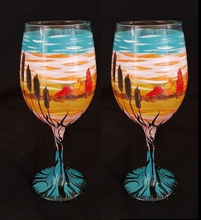 River Sunset Wine Glasses