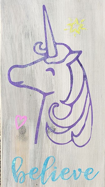 Believe Unicorn 18 x 10