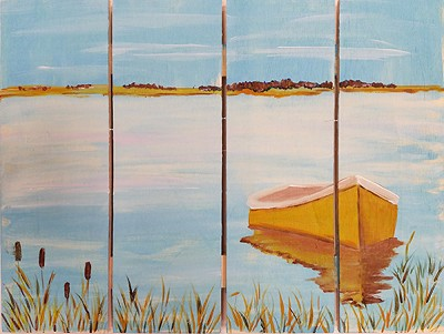 "SEPTEMBER 18TH MONDAY - 7:00 PM - CRAB'S CLAW INN - ""BOAT ON THE BAY"" PAINTED ON WOOD"