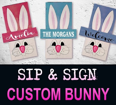 MARCH 5TH TUESDAY 6:30 PM  - RIVER ROCK / EASTER / SPRING BUNNY - PERSONALIZED 18""