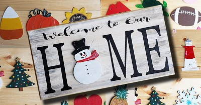 "OCTOBER 2ND WEDNESDAY 7:00 PM  ""HOME"" SIGN WITH 4 CHANGEABLE SHAPES"