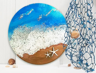 MARCH 4TH WEDNESDAY 7 PM - EPOXY ART WORKSHOP - SWIRLING OCEAN WALL ART WITH 2 STEP RESIN