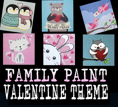 FEBRUARY 2ND 1:00 PM - FAMILY OPEN STUDIO - 12 X 12 VALENTINE THEMED DESIGNS