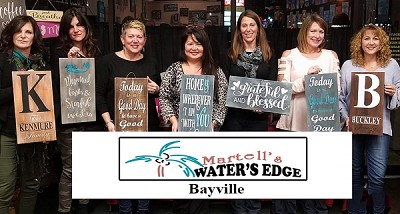 "APRIL 20TH FRIDAY 6:30 PM  MARTELLS WATERS EDGE -BAYVILLE  ""SIP & SIGN"""