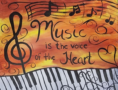"FEBRUARY 27TH TUESDAY 7:00 PM BYOB - BRICK TOWNSHIP STUDIO BYOB  ""MUSIC IS THE VOICE OF THE HEART"" 16 x 20 CANVAS"