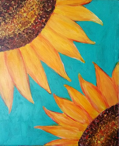 "JANUARY 18TH THURSDAY 7:00 PM BYOB - BRICK TOWNSHIP STUDIO BYOB  ""DOUBLE SUNFLOWER"" CHOOSE YOUR BACKGROUND COLOR"