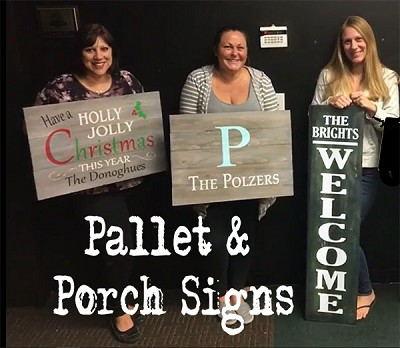 DECEMBER 16TH SUNDAY 1:00 PM - BYOB STUDIO - MAKE ANY SIGN IN OUR DIY PALLET GALLERY - PALLET OR PORCH STYLES