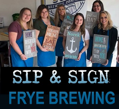 "FEBRUARY 28TH THURSDAY 6:30PM - FRYE BREWING COMPANY - PT PLEASANT  ""SIP & SIGN PARTY""  FLIGHT INCLUDED"