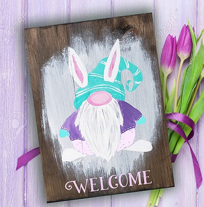 "MARCH 7TH SATURDAY 6:30 PM - ""BUNNY GNOME"" PAINTING ON AN 12 X 16 WOOD PALLET"