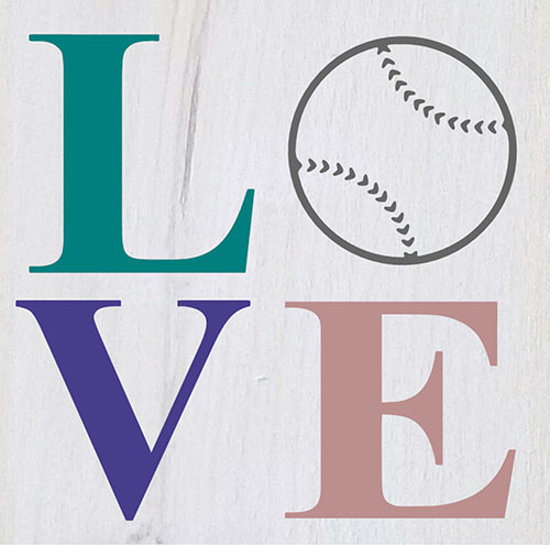 Love Baseball Hanging Stenciled sign