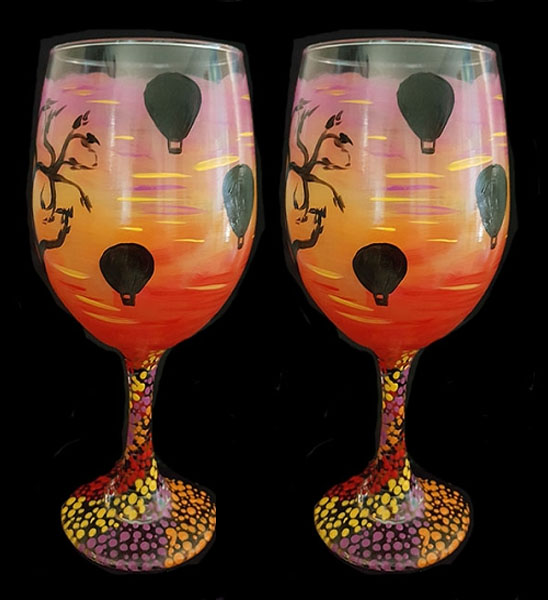 Hot air Balloons in Sunset Wine Glasses