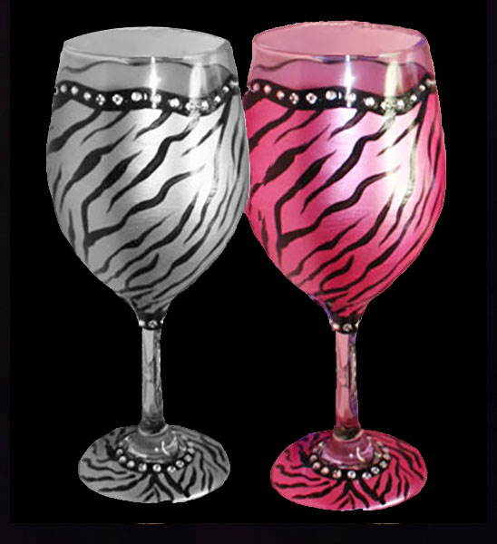Animal Print Wine Glasses