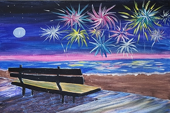 Beach Fireworks Acrylic Painting on Canvas Art Kit