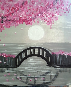 Cherry Bridge Acrylic Painting on Canvas Art Kit