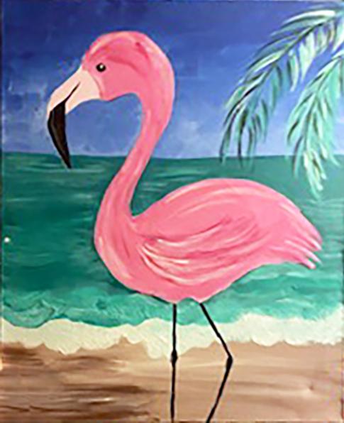 Pink Florida Swan acrylic paint on canvas art kit