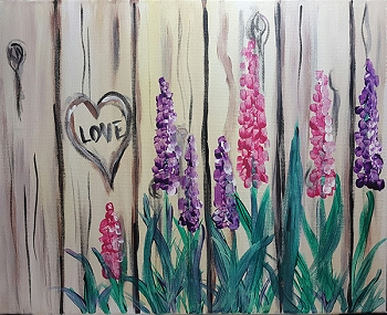 Flowering Fence Acrylic Painting on Canvas Art Kit