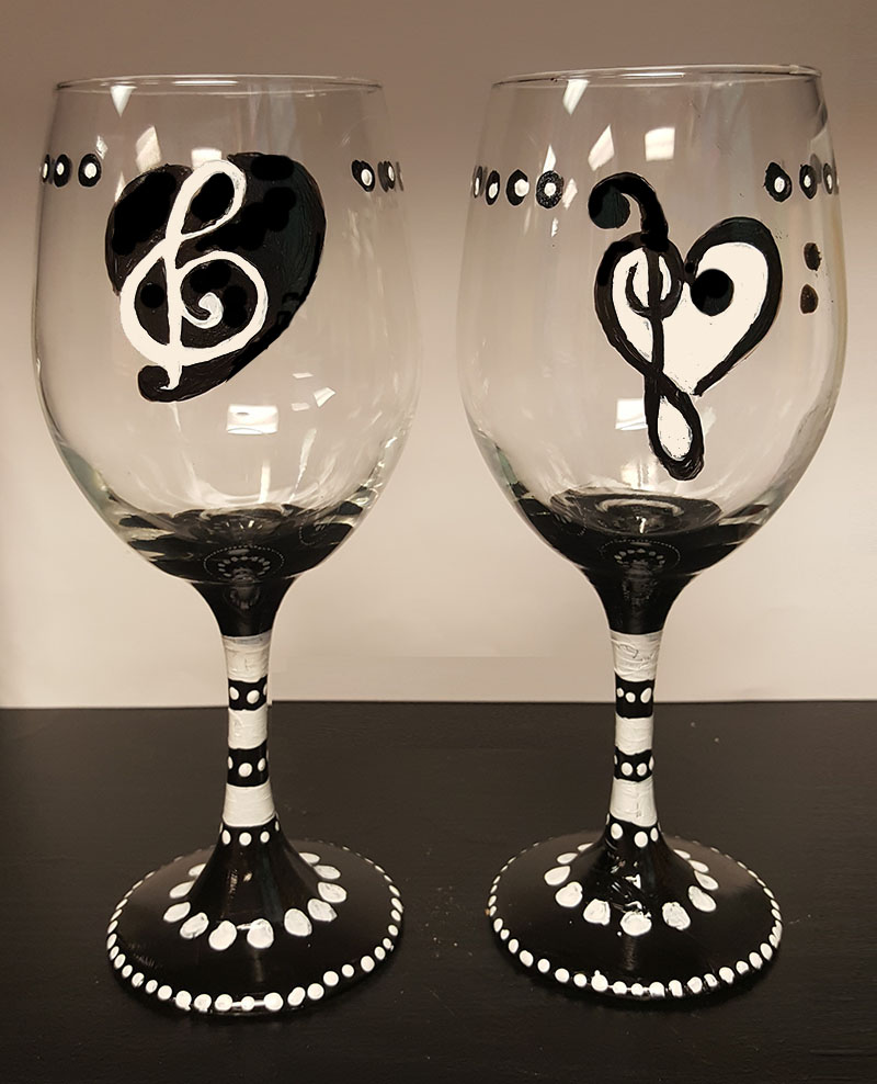 Musical Notes Wine Glasses