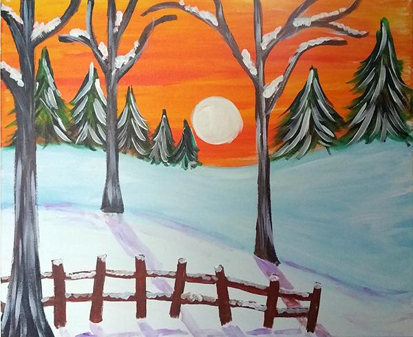 Silent Winter Sunset Acrylic Painting Kit