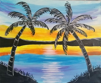 Neon Sunset Acrylic Painting on Canvas Art Kit