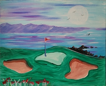 Pebble Beach Acrylic Painting on Canvas Art Kit