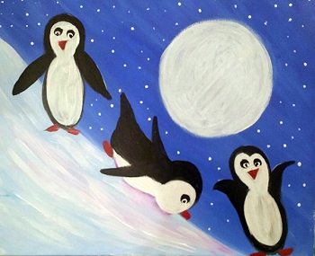 Penquin Party Acrylic Painting on Canvas Art Kit