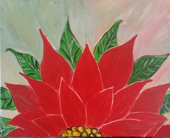 Pretty Poinsettia Acrylic Painting on Canvas Art Kit