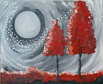 Ruby Trees - Acrylic Painting on Canvas Art Kit