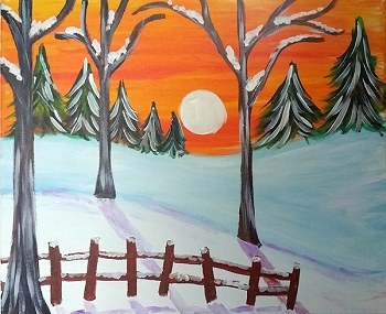 Silent Winter Sunset - Acrylic Painting on Canvas Art Kit