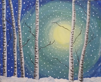 Snow and Birches Acrylic Painting on Canvas Art Kit