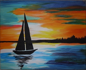 Sunset Sailboat Acrylic Painting on Canvas Art Kit